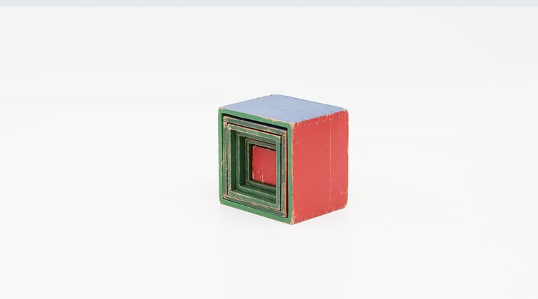 Cube set, children toy in colorful wood, Germany, 1951.  Very nice colorful cube set, one of the first edition is handmade and hand painted.  Some of the first wooden toys after 1950 were only available for a very short time and are very