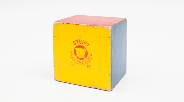 Mid-20th Century 1950s Colorful Wooden Cube Set Made in West Germany by Steiff For Sale