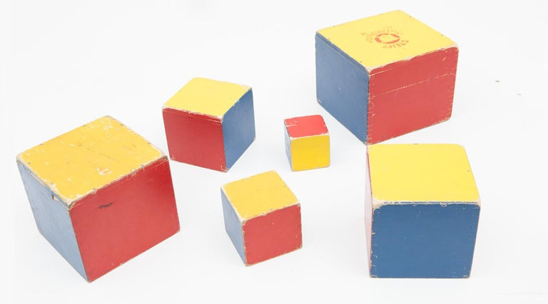 1950s Colorful Wooden Cube Set Made in West Germany by Steiff For Sale 1