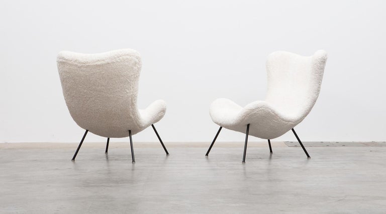 Mid-Century Modern 1950s White Faux Fur on Brass Legs Lounge Chairs by Fritz Neth For Sale