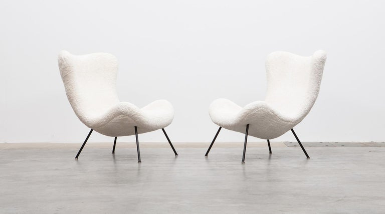 German 1950s White Faux Fur on Brass Legs Lounge Chairs by Fritz Neth For Sale