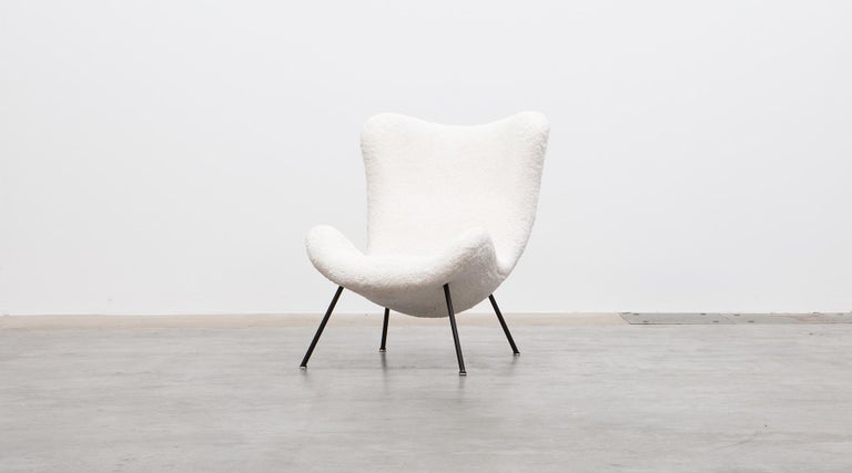 Mid-20th Century 1950s White Faux Fur on Brass Legs Lounge Chairs by Fritz Neth For Sale