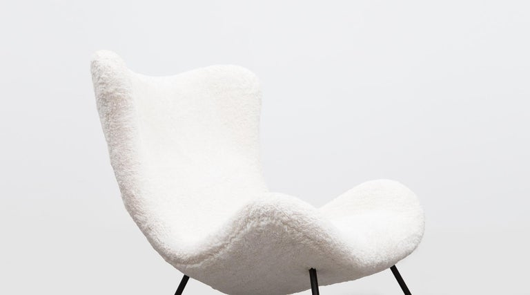 1950s White Faux Fur on Brass Legs Lounge Chairs by Fritz Neth For Sale 10