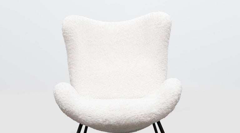 1950s White Faux Fur on Brass Legs Lounge Chairs by Fritz Neth For Sale 11