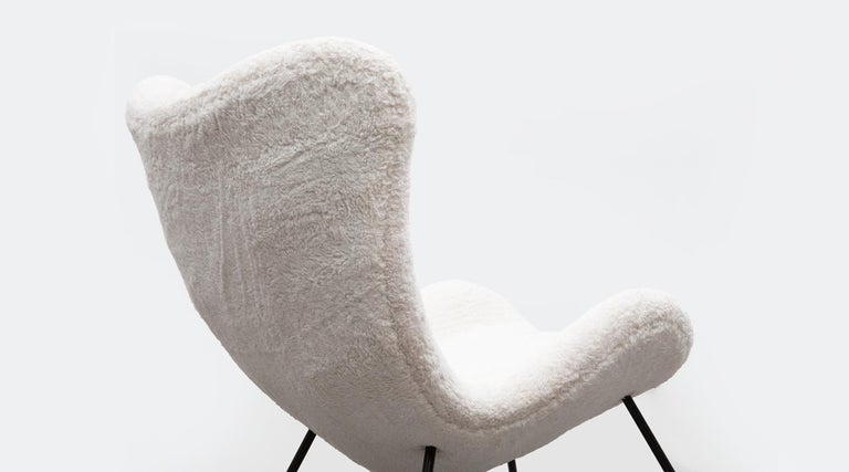 1950s White Faux Fur on Brass Legs Lounge Chairs by Fritz Neth For Sale 12