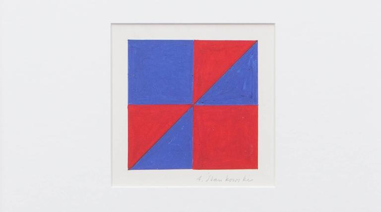 Two colored tempera on paper from German graphic-designer, photographer and painter Anton Stankowski. Signs in Red and Blue from 1978. The work is signed by the artist and comes in high quality white frame with passe-partout. H 34 / W 34 cm. It is