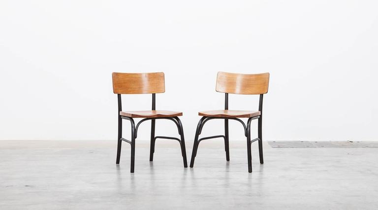 Mid-Century Modern 1930's black bentwood, oak Set of six Side Chairs by Fritz Hansen For Sale
