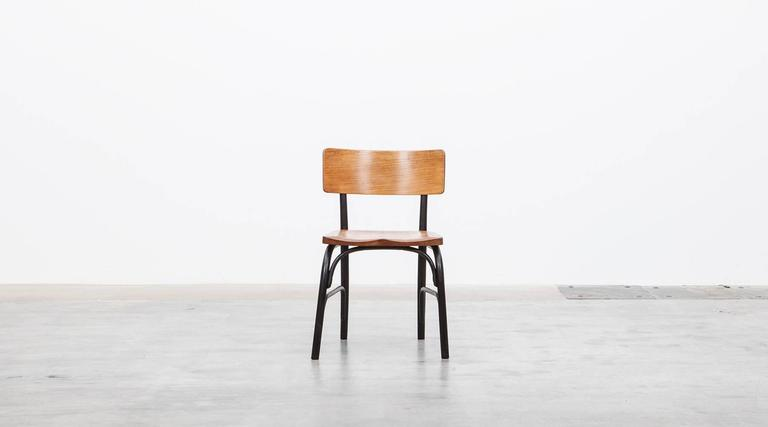 Danish 1930's black bentwood, oak Set of six Side Chairs by Fritz Hansen For Sale