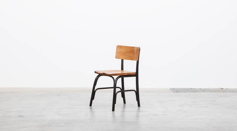 Lacquered 1930's black bentwood, oak Set of six Side Chairs by Fritz Hansen For Sale