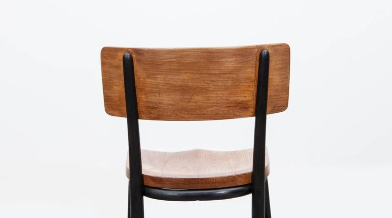 Oak 1930's black bentwood, oak Set of six Side Chairs by Fritz Hansen For Sale