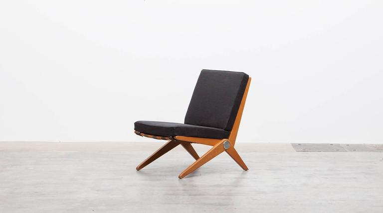 Mid-Century Modern Pair of Pierre Jeanneret Easy Chair 'b'  * New Upholstery *  For Sale