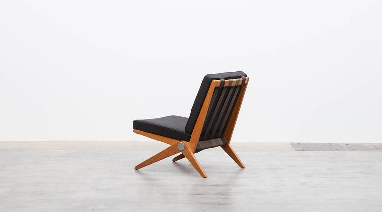 Pair of Pierre Jeanneret Easy Chair 'b'  * New Upholstery *  In Excellent Condition For Sale In Frankfurt, Hessen, DE