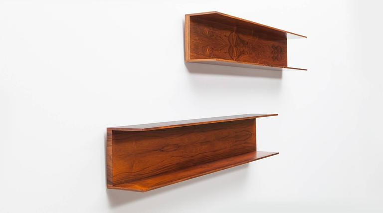 1960's brown wooden set of two Walter Wirtz Shelves 2