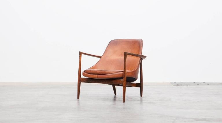 Mid Century Modern 1950´s Brown Wooden And Leather Pair Of Lounge Chairs By