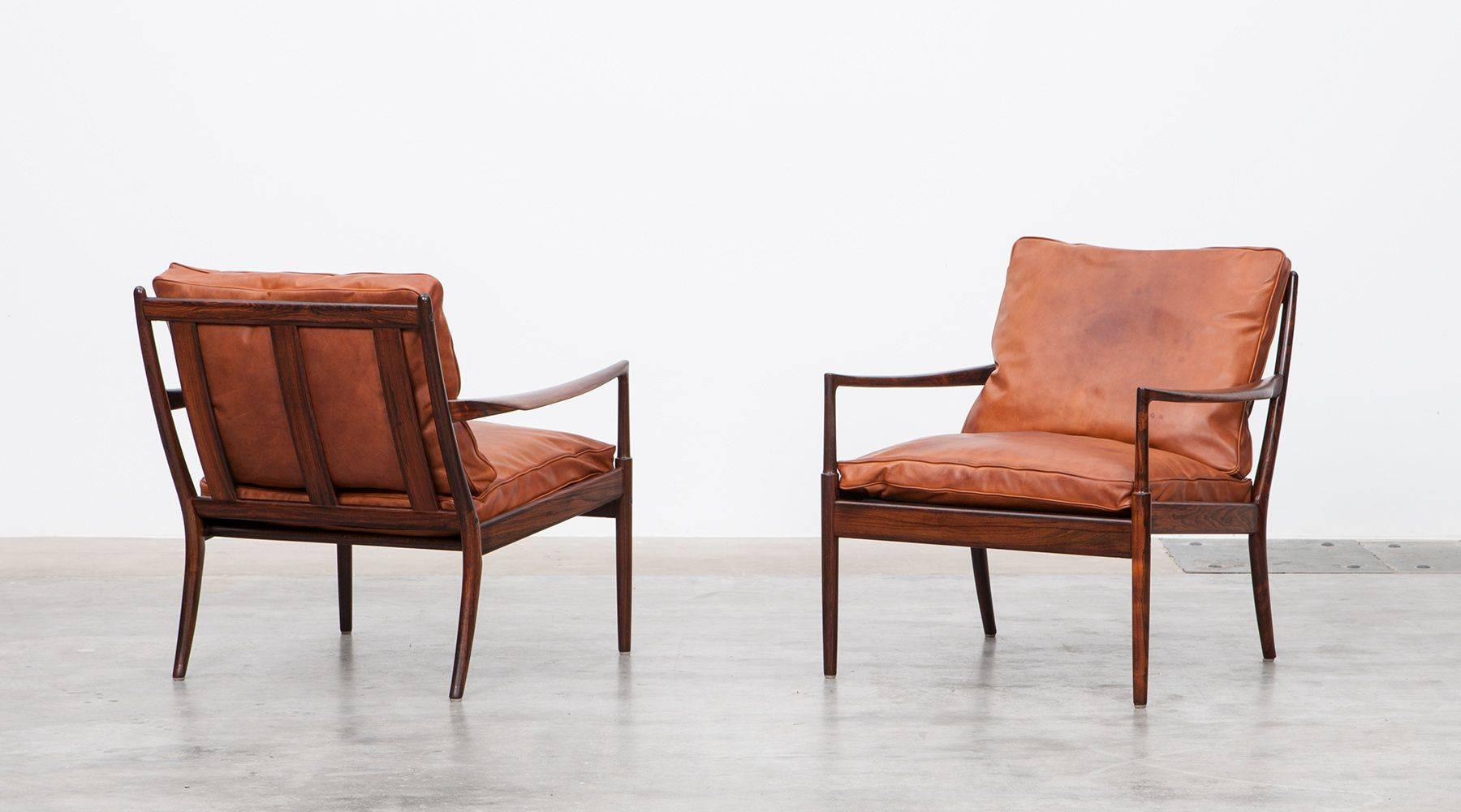 Pair Of 1950 Cognac Leather, Wooden Chairs By Ib Kofod Larsen 2