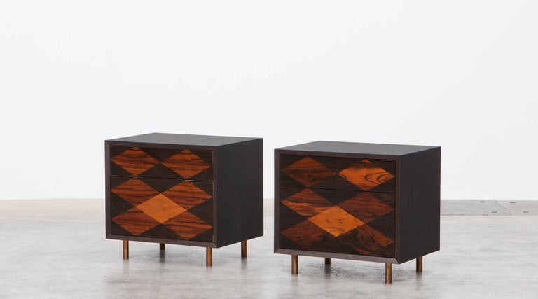 Contemporary Brown Wood Pair of Nightstands by Johannes Hock 2