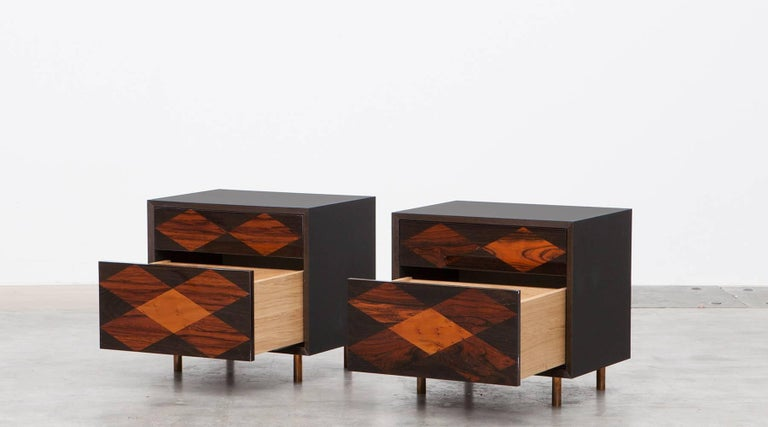 Contemporary Brown Wood Pair of Nightstands by Johannes Hock 3