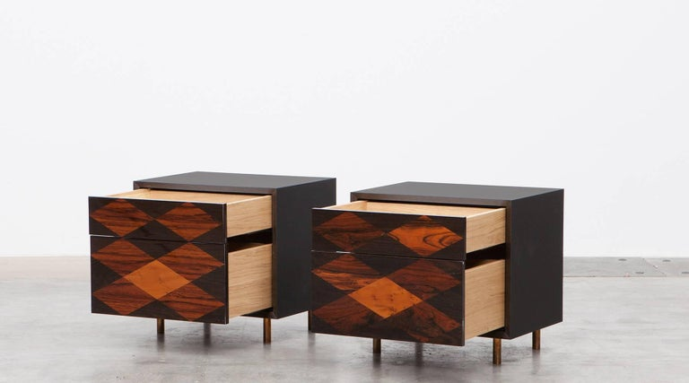 Contemporary Brown Wood Pair of Nightstands by Johannes Hock 4
