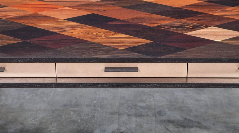 Modern Contemporary Brown Wood and Rosewood Desk by Johannes Hock 'C' For Sale