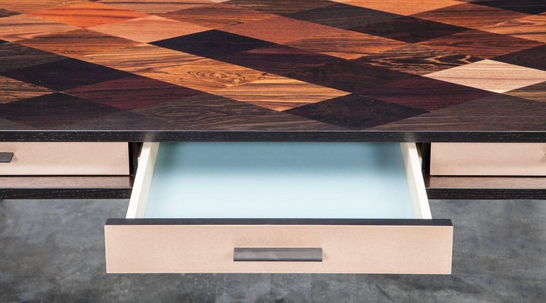 German Contemporary Brown Wood and Rosewood Desk by Johannes Hock 'C' For Sale