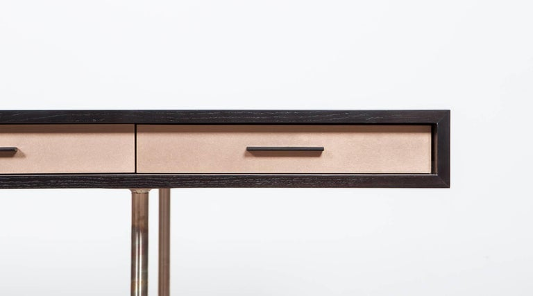 Bronzed Contemporary Brown Wood and Rosewood Desk by Johannes Hock 'C' For Sale