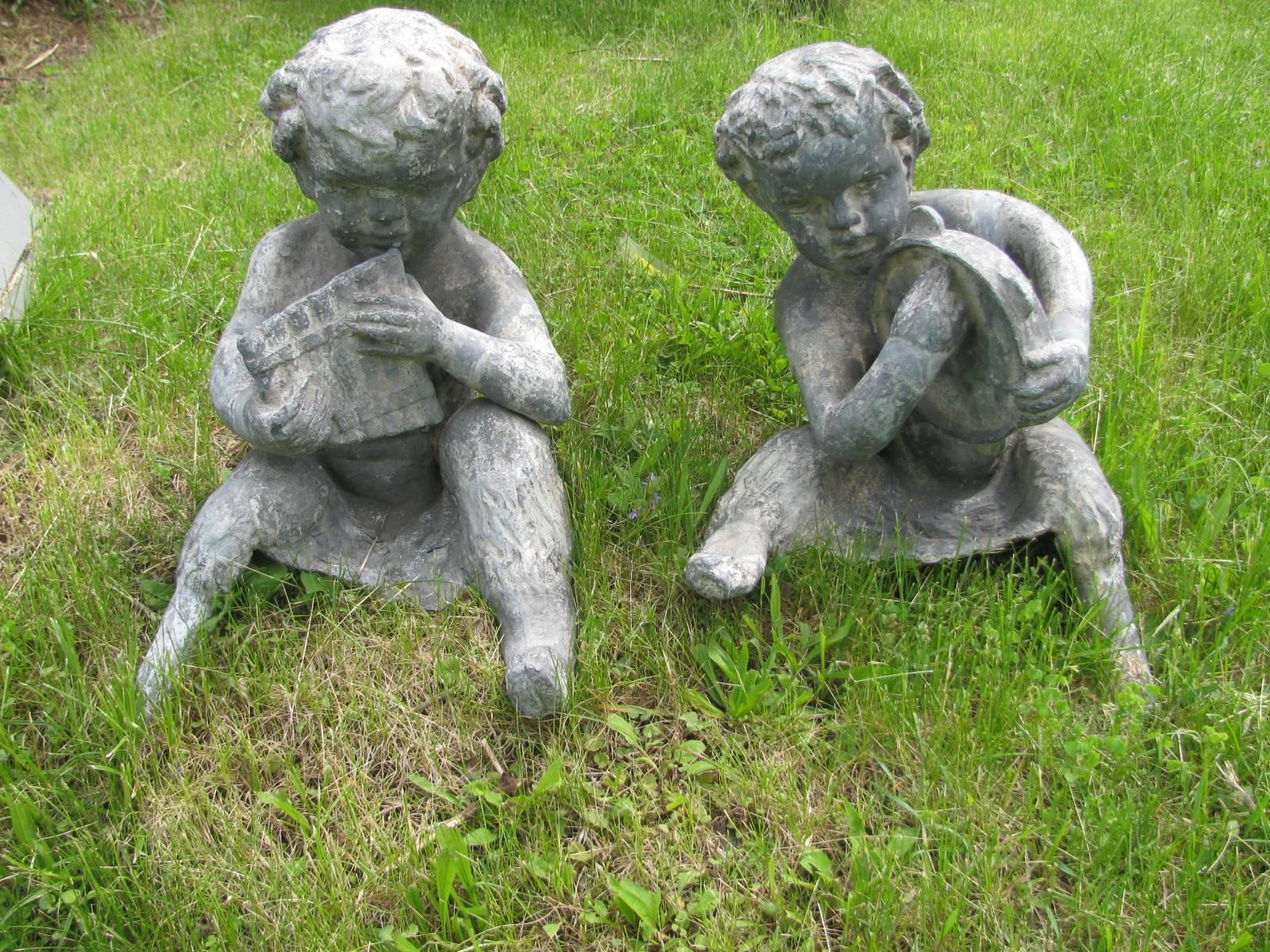 Baroque Revival Pair Of Lead Zinc Garden Figures For Sale