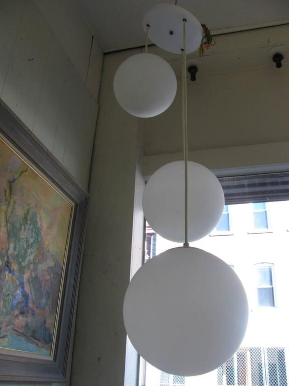 Midcentury Lightolier Triple Globe Pendant Chandelier For Elegant And Simple Hard To Find With This Configuration Gl Globes Vary In Size
