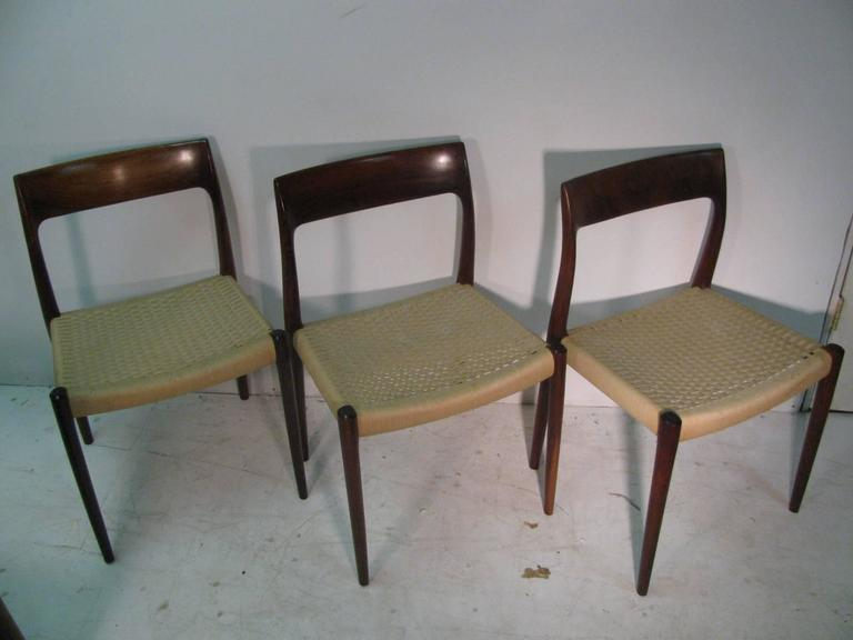 Set of Six Danish Mid-Century Modern Rosewood Dining Chairs by J L Moller 2
