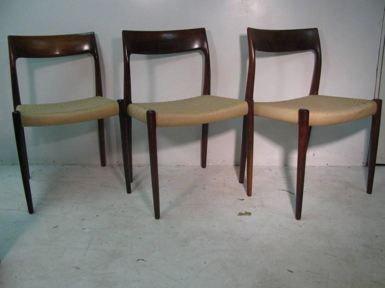Set of Six Danish Mid-Century Modern Rosewood Dining Chairs by J L Moller 3