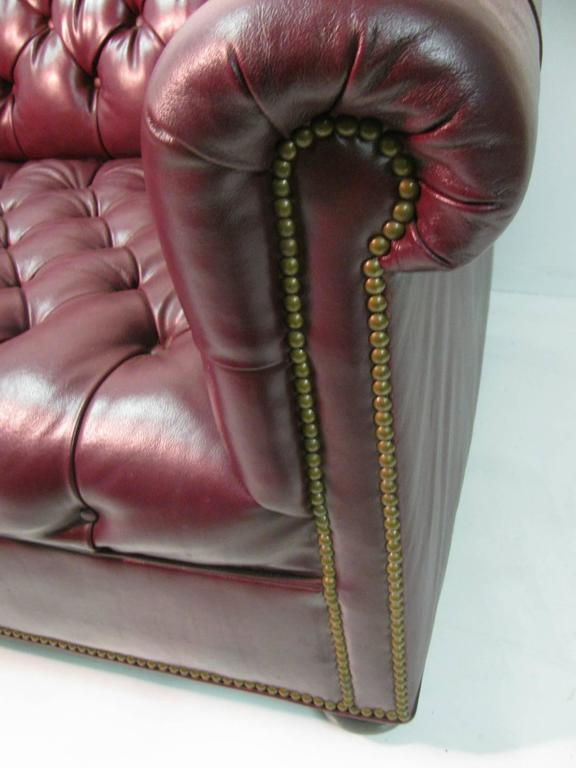 American Chesterfield Leather Two-Seat Sofa in Burgundy Red For Sale