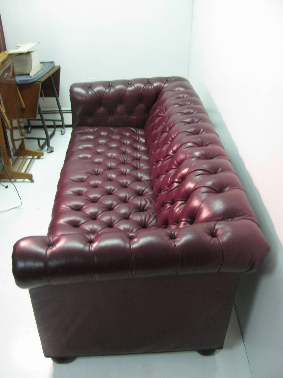 Chesterfield Leather Two Seat Sofa In Burgundy Red For