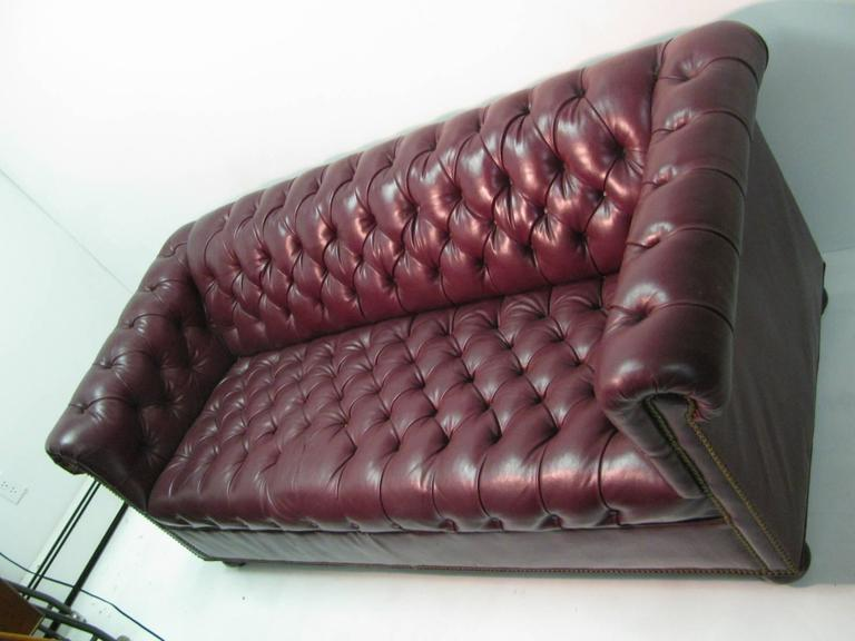 Mid Century Chesterfield Leather Two-Seat Sofa in Burgundy Red In Good Condition For Sale In Port Jervis, NY