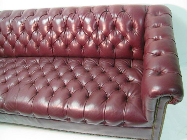 Beaded Mid Century Chesterfield Leather Two-Seat Sofa in Burgundy Red For Sale