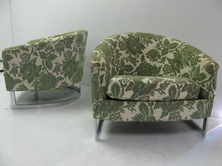 Fabulous Pair Of Mid Century Modern Lounge Chairs. Heavy Nickel Chrome  Bases. Barrel