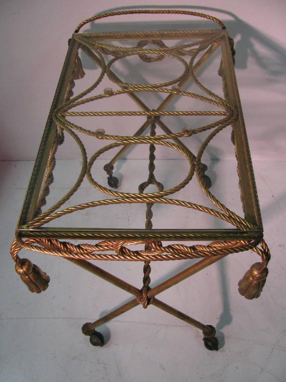 Mid-Century Modern Italian Mid-Century Gilt Rope and Tassel Bar Cart For Sale