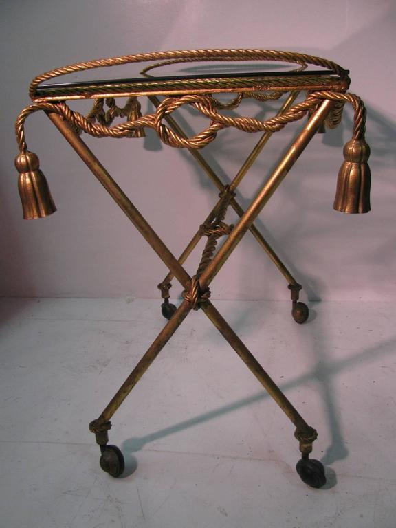 Italian Mid-Century Gilt Rope and Tassel Bar Cart In Excellent Condition For Sale In Port Jervis, NY