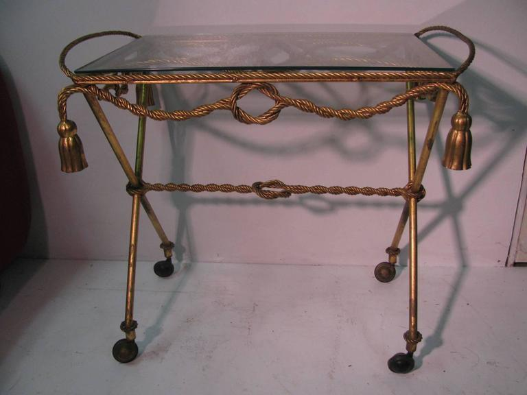 Iron Italian Mid-Century Gilt Rope and Tassel Bar Cart For Sale