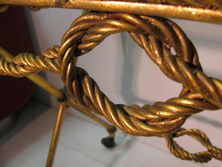 Italian Mid-Century Gilt Rope and Tassel Bar Cart For Sale 1