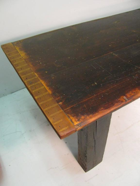 Country Pine Harvest Farm Table Seven Foot Hand Made For Sale 5