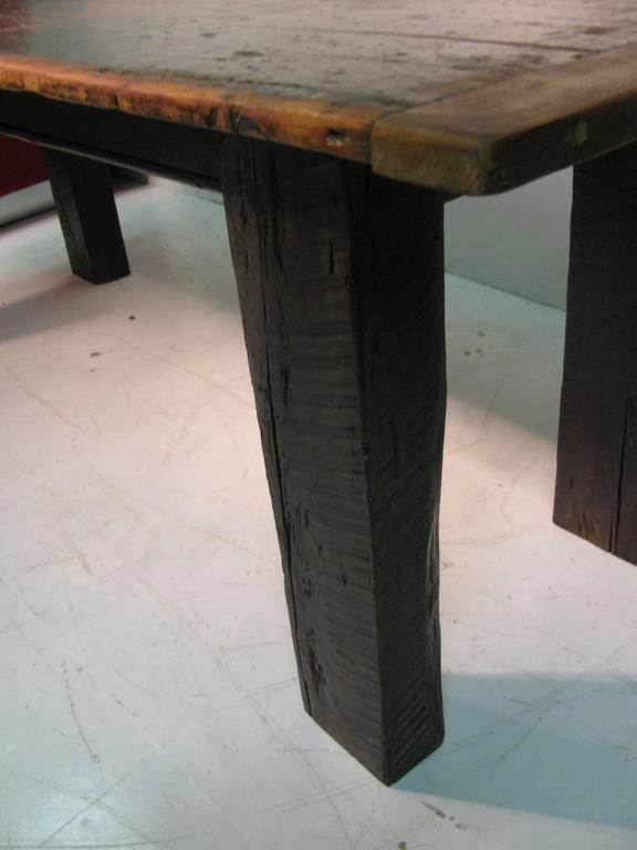 Country Pine Harvest Farm Table Seven Foot Hand Made For Sale 4