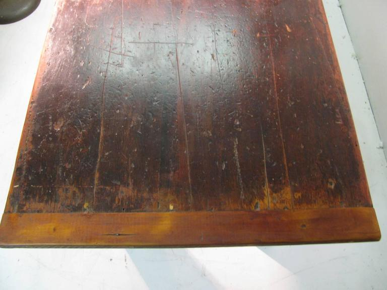 Country Pine Harvest Farm Table Seven Foot Hand Made In Good Condition For Sale In Port Jervis, NY