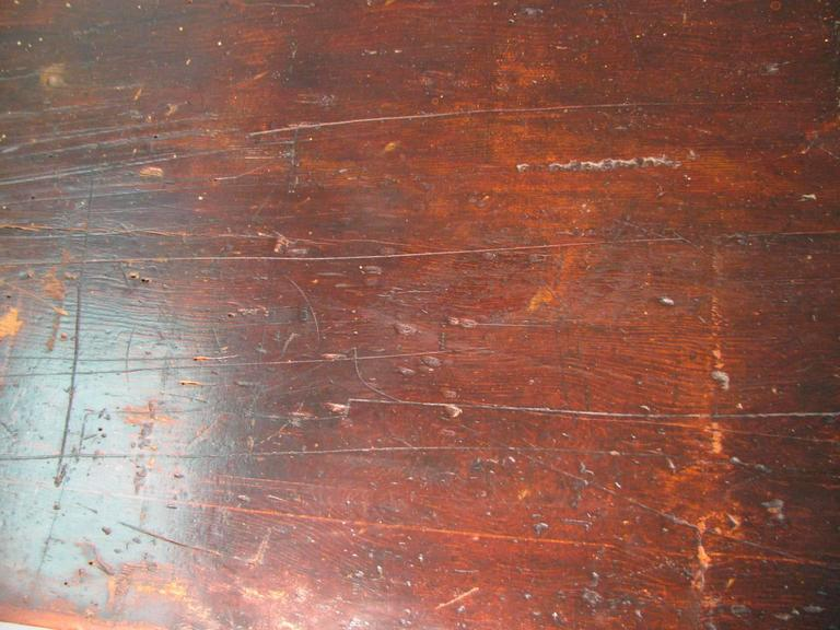 Early 20th Century Country Pine Harvest Farm Table Seven Foot Hand Made For Sale
