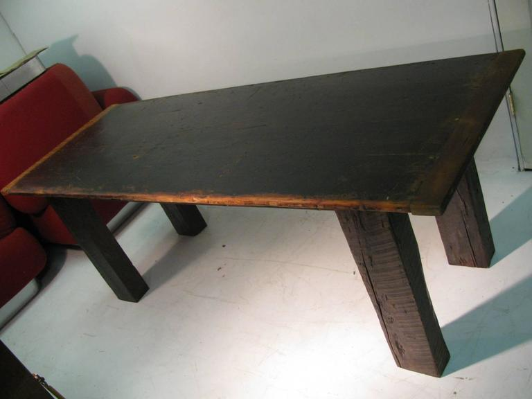 Country Pine Harvest Farm Table Seven Foot Hand Made For Sale 1
