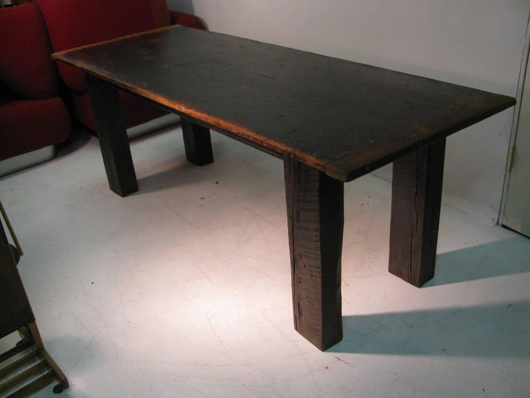 Country Pine Harvest Farm Table Seven Foot Hand Made For Sale 2