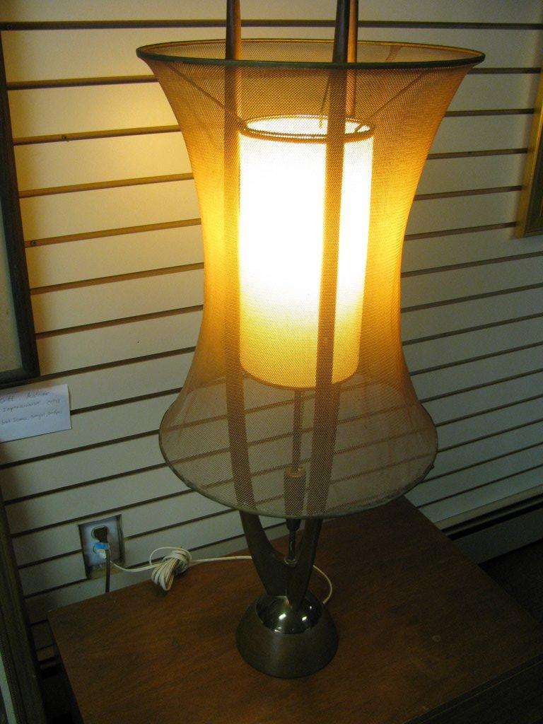 Danish Mid Century Modern Floor Lamp With Copper Mesh Shade By Adrian Pearsall For Sale At 1stdibs
