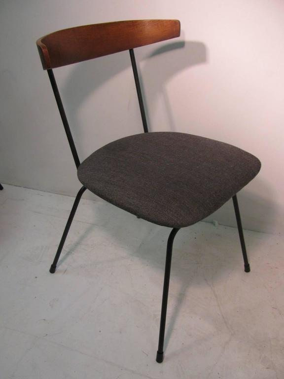 Mid Century Modern Iron And Walnut Dining Chairs By
