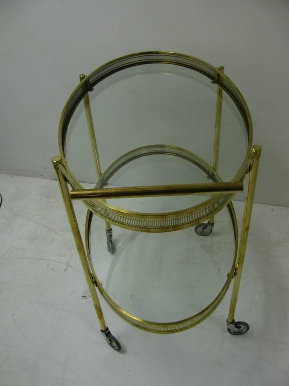 Polished Mid-Century Modern Oval Brass with Glass Bar Cart For Sale