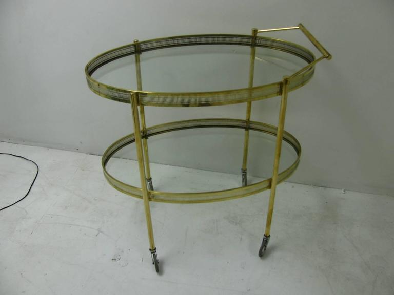 American Mid-Century Modern Oval Brass with Glass Bar Cart For Sale