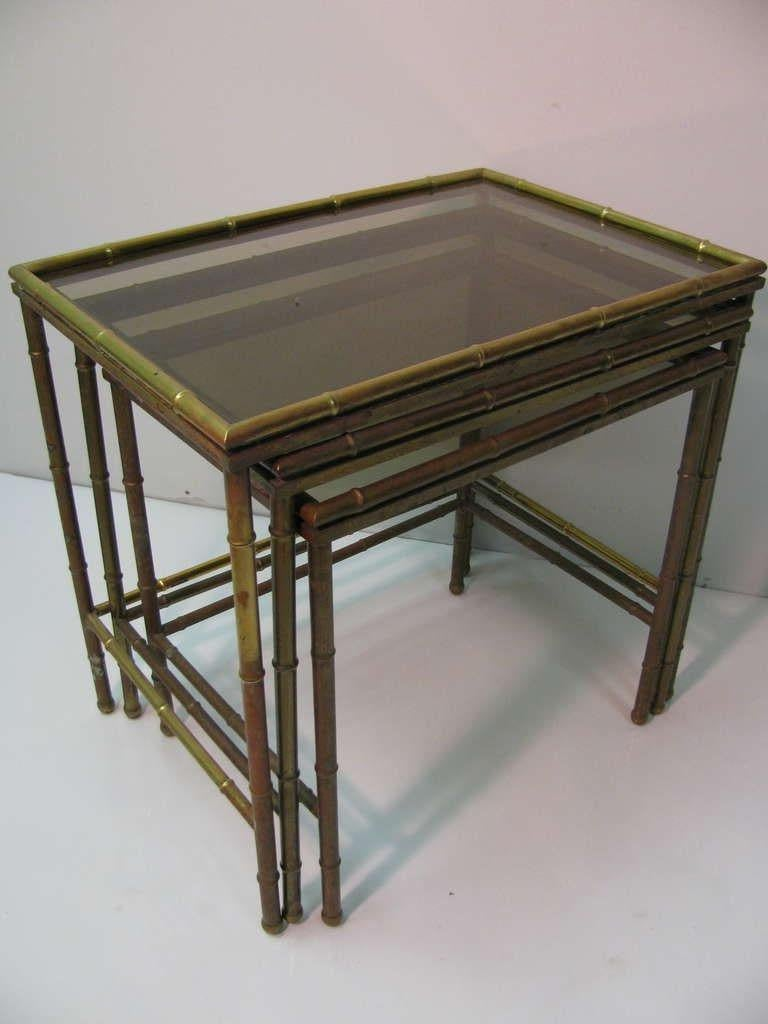 Italian Mid Century Faux Bamboo Brass Nesting Tables, Italy For Sale