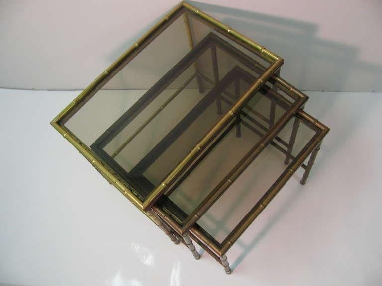 Neoclassical Mid Century Faux Bamboo Brass Nesting Tables, Italy For Sale